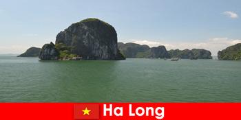 하롱 베트남의 바위 거인을 위한 보트 투어