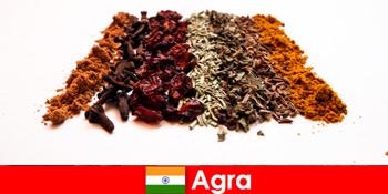 아그라 인도에서 향신료의 세련된 요리로 관광객을위한 여행